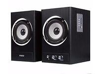 Ricco 24 W 2 Channel RMS Wooden Chrome Speaker Home Hi-Fi System Black