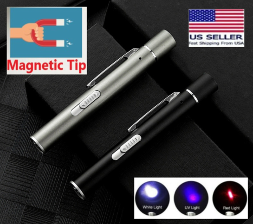 Laser Pointer MAGNETIC SILVER USB Pen~ 4 in 1 Cat Toy Rechargeable Flashlight UV Cat Supplies