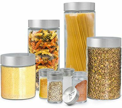 Estilo 8 Piece Glass Canisters And Spice Jar Set with Stainless Steel Screw On  - Glass Canister Jar Set