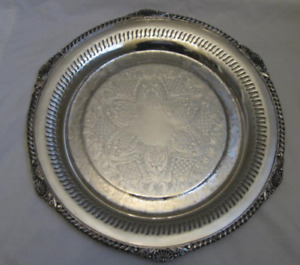 Vintage Silver-plated round tray or platter. Good Condition