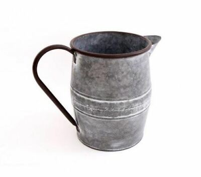 VINTAGE STYLE POTTING SHED GALVANISED METAL WATER JUG PLANTER DECOR SMALL 22CM