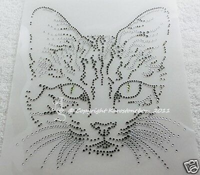 Hotfix Strass Bügelbild Cat Katze Crystal-Black Diamond Glas Karostonebox 120921