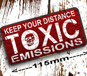 Toxic-Emissions-sticker-Keep-Your-Distance-115mm-quality-print-self-adhesive