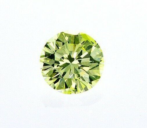 Natural Fancy Intense Green Yellow Color Round Cut Diamond 0.27 CT GIA Certified