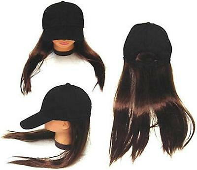 BASEBALL CAP W LONG BROWN HAIR funny fake costume hat wig dressup joke wigs new