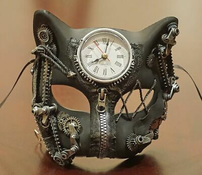 Silver Steampunk Cat Mask With Clock And Gears Burning Man Cosplay Mask
