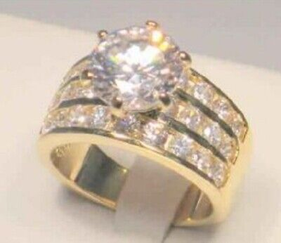 Cut Diamond Ring Band - 3.50 Ct Round cut Diamond Solitaire Wide Band Cocktail Ring Yellow Gold ov Sz 9