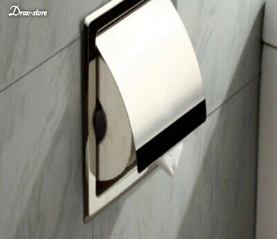 Chrome Paper Holder Toilet Bathroom Stainless Steel Tissue Roll Recessed Storage Roll Recessed Toilet