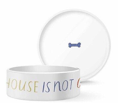 Fringe Studio Dog Pet Ceramic Large Food Feeding Dish Bowl Dog Bone New!!