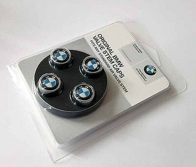 BMW Genuine Roundel Logo Tire Valve Steam Cap Set, Caps NEW Original Set of 4