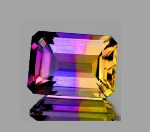 9.92 Ct Emerald Cut AAA Bi-Color Natural Unheated Bolivian Ametrine VVS Gemsone