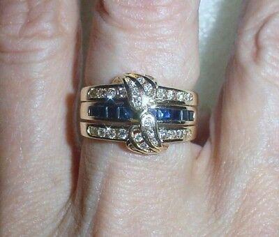 14K ESTATE SAPPHIRE-DIAMOND RING GUARD SET -  LB1560
