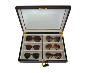 6 wood eyeglass sunglass oversized glasses storage