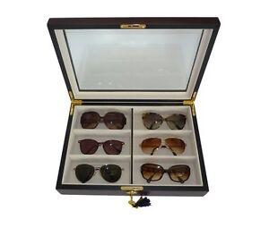 6 Ebony Wood Eyeglass Sunglass Oversized Glasses Storage
