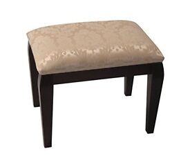 Cream Damask Top Dressing Table Bedroom Stool with Dark Brown Legs.