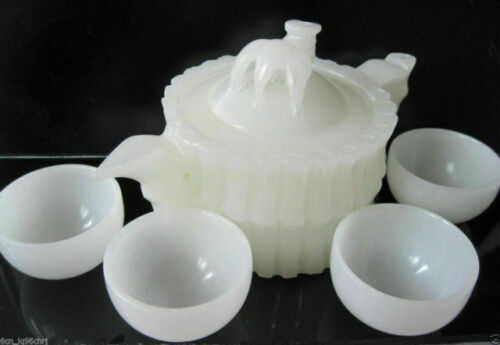 Chinese 100% Natural White Jade Hand-Carved Bamboo Teapot & 4 Cups NBB