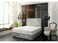 Velvet Divan bed base & 10' memory foam mattress PLAIN HEADBOARD FREE