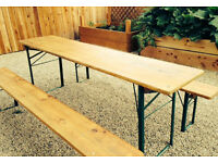 wooden folding table and benches