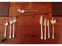 52 piece bronze cutlery set in solid teak canteen