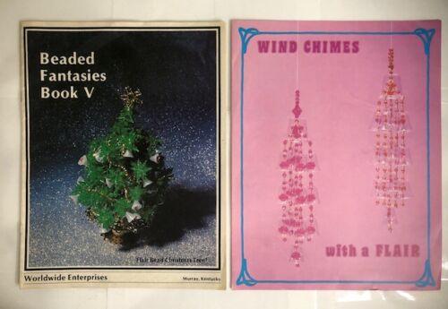 Lot 2 Vintage Bead Beading Patterns Books Beaded Fantasies V 5 & Wind Chimes +