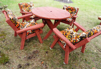 Vintage Red Wood Cedar Patio Set - Table, Chairs, Lounge, Bench