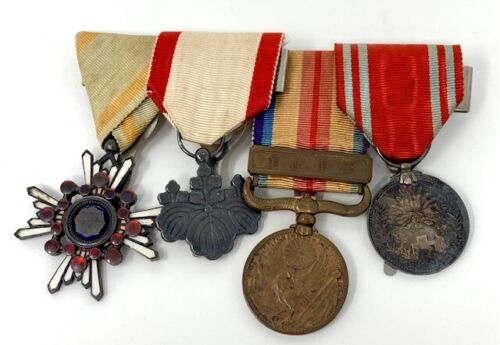 4 WWII WW2 Japanese Soldier War Medal Lot Set Japan Military Medals Uniform Bar