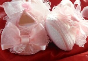 Baby booties, newborn shoes, baptism shoes, lace shoes, wedding Windsor Region Ontario image 2
