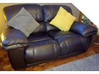 Two seater reclining leather chairs only 2 years old excellent condition