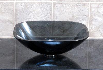 Bathroom Clear Black Square Glass Vessel Vanity Sink TS
