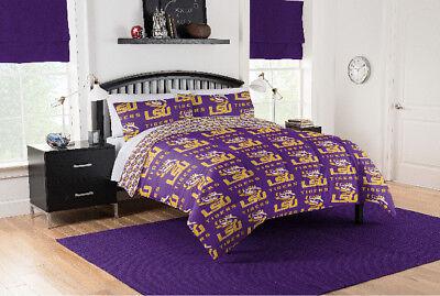 LSU Tigers Full Comforter & Sheet Set, NCAA 5 Piece Bedding, NEW! ()
