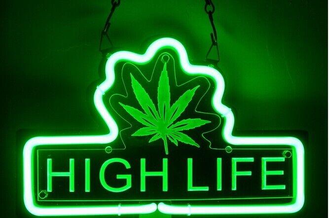 "Marijuana Hemp Leaf High Life 3D Neon Sign Beer Bar Gift 14"""