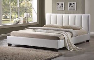 CLEAR OUT!!! White Leather King Size Bed
