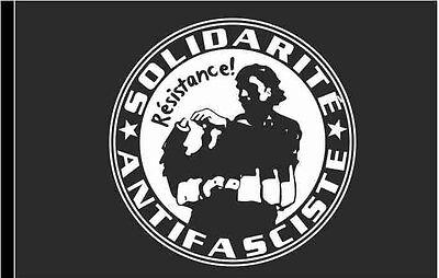 Flagge schwarz Motiv SOLIDARITE ANTIFASCISTE 100x150 cm