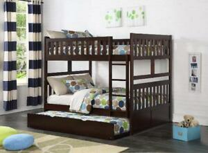 Double/Double bunk bed frame, solid wood, makes into 2 beds, NEW