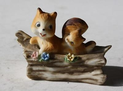 Playful Squirrels - Squirrel Figure 2 in Log Ceramic-Porcelain Hand Painted Adorable Playful Brown
