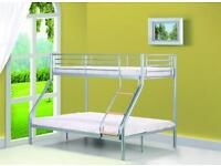 ** EXPRESS DELIVERY ** Strong Metal Triple Bunk Bed Frame