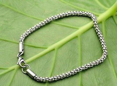 5pcs in bulk 3.2mm popcorn chain stainless steel women/Boy bracelet silver 8'' - Popcorn In Bulk