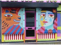 Fully functional unique colourful shop shutters metal roller blinds collection london E8 3BQ