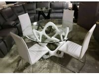Glass dining table & 4 white leather chairs
