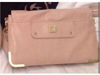 Micha Barton Designer Large Clutch Bag With Strap Nude/Peach/Neutral