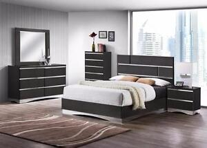 Gorgeous High Gloss Grey 5 Piece Queen Bedroom Set - Huge May Special!!!