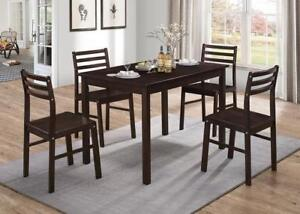 Stylish & Modern Espresso, Warm Gray Finish 5 Pc Dining Set