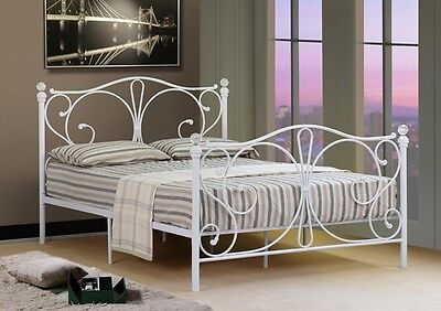 4ft 4ft6 double 5ft king black or white metal bed frame with crystal - White Metal Bed Frame