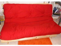 Futon Sofa Double Bed with Mattress - Poppy Red in great condition (Kyoto Futons LTD)