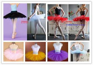 New-Adult-Professional-Ballet-Tutu-Hard-Organdy-Platter-Skirt-Dance-Dress-8color