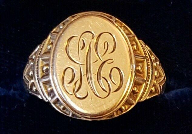 GORGEOUS ANTIQUE VICTORIAN OB OSTBY BARTON 10K GOLD SIGNET RING 6.2 GRAMS SZ 10