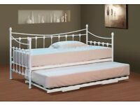 White metal day bed with trundle ***no mattresses
