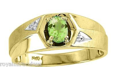 (Mens Genuine Color Stone Ring Sterling Silver or Gold Plated - August Peridot)