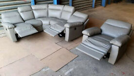 Hardly used Leather Power Recliner Corner Sofa And Chair - Grey.