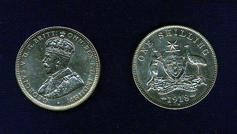 AUSTRALIA GEORGE V  1918-M  1 SHILLING SILVER COIN, NICE!  XF+